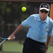 Francis Pitt, Australia, in action in the 85 Mens Singles during the 2009 ITF Super-Seniors World Team and Individual Championships at Perth, Western Australia, between 2-15th November, 2009.