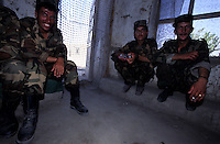 Kabul, 25 July 2005.Afghan soldiers during a breck at their barracks