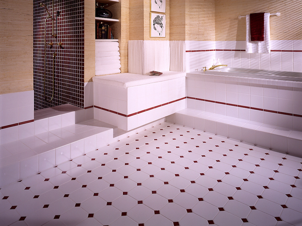 Contemporary ceramic tile bath bathroom interior
