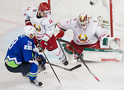 Ales Kranjc of Slovenia vs Yevgeni Lisovets of Belarus and Kevin Lalande of Belarus during the 2017 IIHF Men's World Championship group B Ice hockey match between National Teams of Slovenia and Belarus, on May 13, 2017 in AccorHotels Arena in Paris, France. Photo by Vid Ponikvar / Sportida