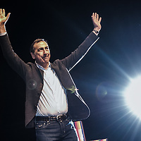 Milan, Italy - 07-02-2016: Giuseppe (Beppe) Sala gestures as he wins the Democratic Party primary for Milan mayor . He has been chosen by left wing voters, supporters and party to become the official candidate for 2016 Spring Milano elections.