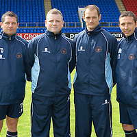 St Johnstone FC photocall 2009-10<br /> From left, Tony Docherty (asst manager), Dave Buglass (videoman), Graham Kirk (videoman) and Derek McInnes<br /> Picture by Graeme Hart.<br /> Copyright Perthshire Picture Agency<br /> Tel: 01738 623350  Mobile: 07990 594431