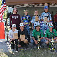 RAY VAN DUSEN/BUY AT PHOTOS.MONROECOUNTYJOURNAL.COM<br /> The winners of the Mississippi Bass Federation High School Tournament pose with trophies and plaques following weigh-in at the Aberdeen Marina Saturday.