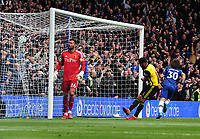 Football - 2018 / 2019 Premier League - Chelsea vs. Watford<br /> <br /> David Luiz scores Chelsea's second goal as Watford goalkeeper, Ben Foster can only watch, at Stamford Bridge.<br /> <br /> COLORSPORT/ANDREW COWIE