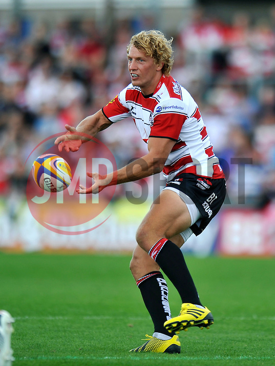 Max Clark of Bath Rugby passes the ball - Mandatory byline: Patrick Khachfe/JMP - 07966 386802 - 13/09/2015 - RUGBY UNION - Memorial Stadium - Bristol, England - Gloucester Rugby v Bath Rugby - West Country Challenge Cup.