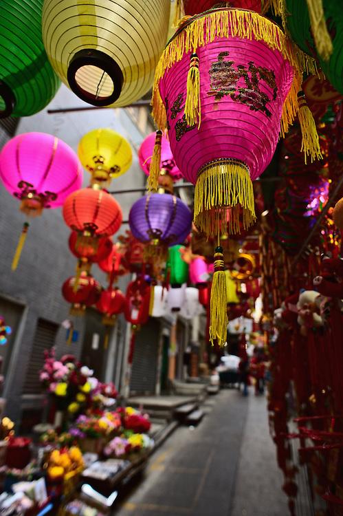 Chinese lanterns on sale at market stall, Central Hong Kong
