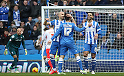 Brighton's Joao Teixeira celebrates his opener during the Sky Bet Championship match between Brighton and Hove Albion and Birmingham City at the American Express Community Stadium, Brighton and Hove, England on 21 February 2015. Photo by Phil Duncan.