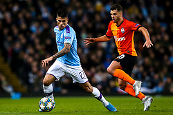 Joao Cancelo of Manchester City takes on Junior Moraes of Shakhtar Donetsk - Mandatory by-line: Robbie Stephenson/JMP - 26/11/2019 - FOOTBALL - Etihad Stadium - Manchester, England - Manchester City v Shakhtar Donetsk - UEFA Champions League Group Stage
