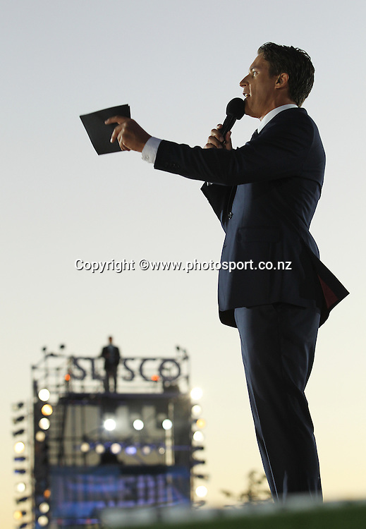 Jeremy Wells, presenter taking part in the performance on stage during the ICC Cricket World Cup Opening Ceremony venue staged in Hagley Park, Christchurch. 12 February 2015 Photo: Joseph Johnson / www.photosport.co.nz