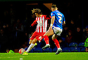 Accrington Stanley's Josh Windass and Portsmouth's Ben Davies during the The FA Cup match between Portsmouth and Accrington Stanley at Fratton Park, Portsmouth, England on 5 December 2015. Photo by Graham Hunt.