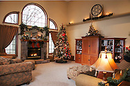 Great room decorated for Christmas