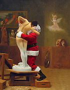 Santa proves he really IS a timeless classic: Father Christmas makes stunning interventions in famous paintings throughout the ages<br /> <br /> <br /> It's a quirk of the modern world that may have some of the artists turning in their grave.<br /> But one photographer has been giving their materpieces a distinctly festive feel with a touch of digital trickery.<br /> Ed Wheeler has spent the last few years taking self-portraits while dressed as Santa Claus - and inserting them into famous paintings.<br /> The Philadelphia-based artist has a collection of dozens of such adaptations with Father Christmas carefully placed on canvases by Botticelli, Monet, Coolidge and Caravaggio among others.<br /> <br /> An introduction on the website Santa Classics, which promotes his collection, says: 'Often Santa replaces a main figure in a painting, sometimes he is added to a group composition or may even be the single human presence in a landscape.<br /> ©Ed Wheeler/exclusivepix