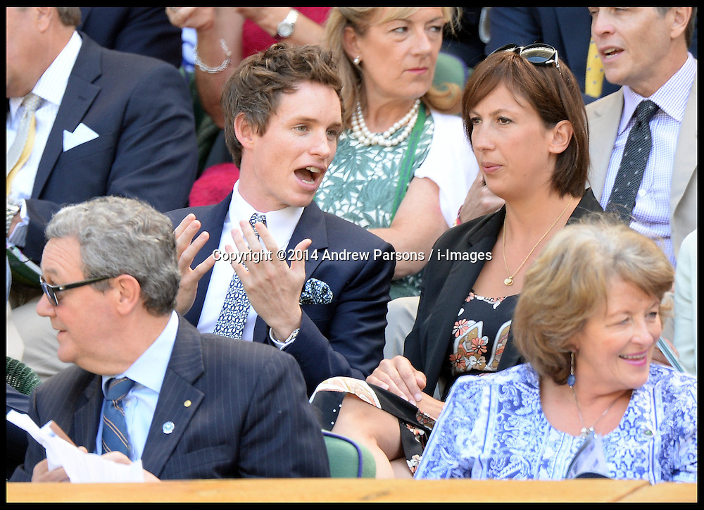 Image ©Licensed to i-Images Picture Agency. 03/07/2014. London, United Kingdom. Eddie Redmayne and Miranda Hart in the Royal Box at the  Wimbledon Tennis Championship for Day Ten.  Picture by Andrew Parsons / i-Images