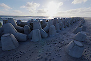 Sylt, Germany. Concrete wave breakers at Hörnum-Odde, Sylt's Southern tip.