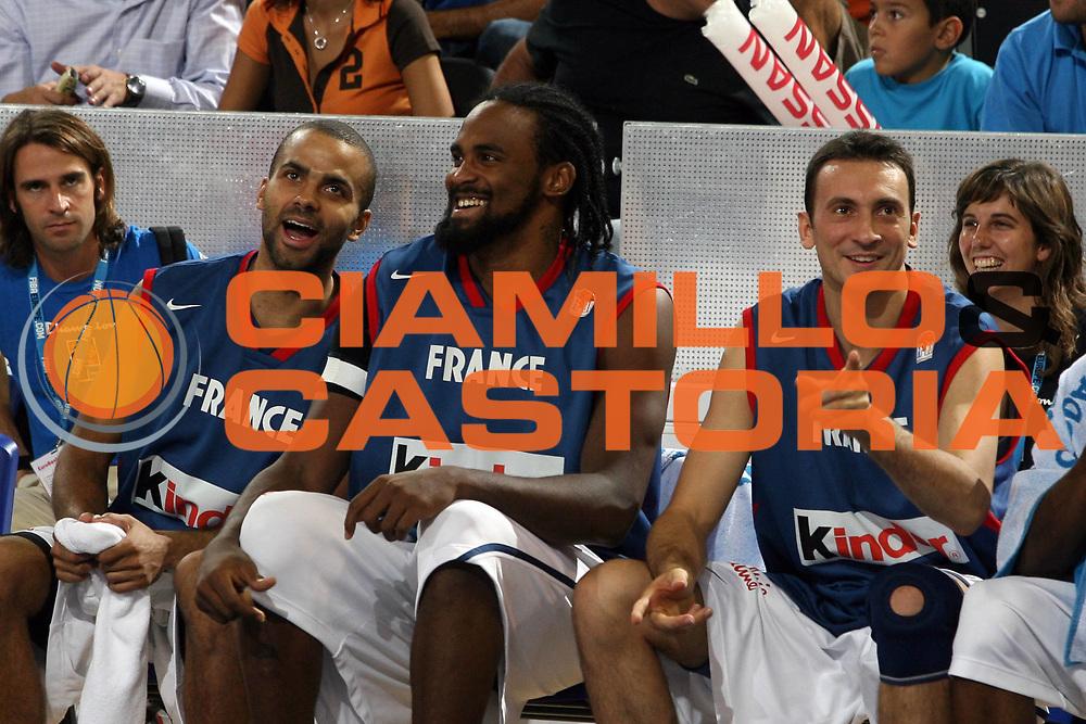 DESCRIZIONE : Madrid Spagna Spain Eurobasket Men 2007 Qualifying Round Francia Turchia France Turkey <br /> GIOCATORE : Tony Parker Ronny Turiaf <br /> SQUADRA : Francia France <br /> EVENTO : Eurobasket Men 2007 Campionati Europei Uomini 2007 <br /> GARA : Francia Turchia France Turkey <br /> DATA : 12/09/2007 <br /> CATEGORIA : Esultanza <br /> SPORT : Pallacanestro <br /> AUTORE : Ciamillo&amp;Castoria/A.Vlachos <br /> Galleria : Eurobasket Men 2007 <br /> Fotonotizia : Madrid Spagna Spain Eurobasket Men 2007 Qualifying Round Francia Turchia France Turkey <br /> Predefinita :