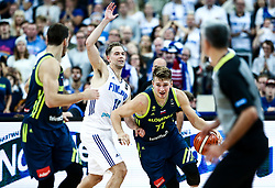 Petteri Koponen of Finland vs Luka Doncic of Slovenia during basketball match between National Teams of Finland and Slovenia at Day 3 of the FIBA EuroBasket 2017 at Hartwall Arena in Helsinki, Finland on September 2, 2017. Photo by Vid Ponikvar / Sportida