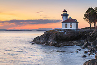 Lime Kiln Lighthouse at sunset, Lime Kiln Point State Park, San Juan Island, Washington