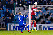 Lincoln City defender Neal Eardley (23) and Gillingham FC defender Connor Ogilvie (6)' during the EFL Sky Bet League 1 match between Gillingham and Lincoln City at the MEMS Priestfield Stadium, Gillingham, England on 16 November 2019.