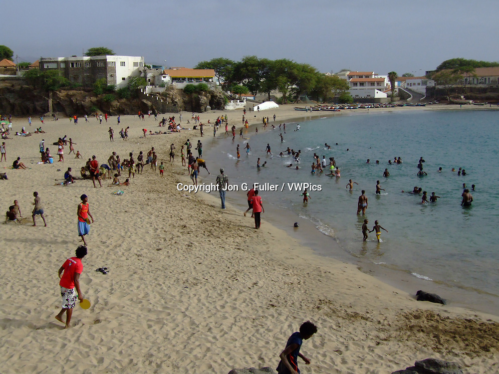 People on the beach at Tarrafal on the island of Santiago, Republic of Cabo Verde.