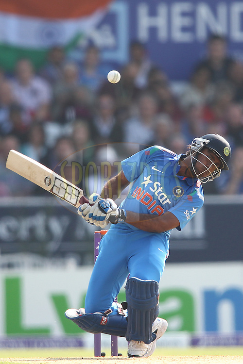 Ambati Rayudu of India gets out of the way of a short delivery during the 5th One Day International ( ODI ) match between England and India held at Headingley Cricket Ground in Leeds, England on the 5th September 2014<br /> <br /> Photo by Shaun Roy / SPORTZPICS/ BCCI