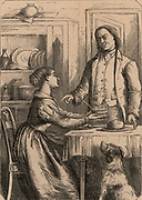 Benjamin Franklin (1706-1790) American printer, scientist and statesman. Franklin, having become more successful, is surprised when Deborah, his wife, serves his breakfast in a china bowl with a silver spoon, rather than in an earthenware bowl with a pewter spoon. Engraving, London 1852. Wood engraving.