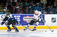 KELOWNA, CANADA - APRIL 17: Alex Forsberg #16 of Victoria Royals stick checks Tyson Baillie #24 of Kelowna Rockets as he skates with the puck during second period on April 17, 2016 at Prospera Place in Kelowna, British Columbia, Canada.  (Photo by Marissa Baecker/Shoot the Breeze)  *** Local Caption *** Alex Forsberg; Tyson Baillie;