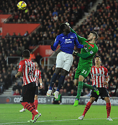 Southampton's Fraser Forster punches the ball clear away from Everton's Romelu Lukaku - Photo mandatory by-line: Alex James/JMP - Mobile: 07966 386802 - 20/12/2014 - SPORT - Football - Southampton  - St Mary's Stadium - Southampton  v Everton - Football
