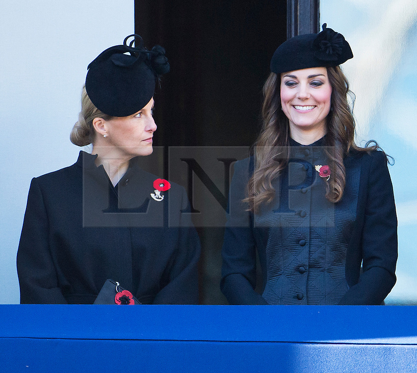 © London News Pictures. 10/11/2013. London, UK. Sophie, Countess of Wessex (left) and Catherine Duchess of Cambridge (right) looking over during the Remembrance Day Ceremony at the Cenotaph war memorial in London, United Kingdom, on November 10, 2013 . Royalty and Politicians joined the rest of the county in honouring the war dead by gathering at the iconic memorial to lay wreaths and observe two minutes silence. Photo Credit: Ben Cawthra/LNP
