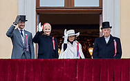Oslo, 17-05-2017 <br /> <br /> King Harald and Queen Sonja, Crown Prince Haakon, Crown Princess Mette Marit and Princess Ingrid Alexandra and Prince Sverre Magnus celebrate the National Day of Norway at the balcony of the Royal palace of Oslo.<br /> <br /> PUBLICATION ONLY IN FRANCE<br /> <br /> COPYRIGHT: ROYALPORTRAITS EUROPE/ BERNARD RUEBSAMEN