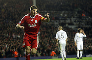 Steven Gerrard celebrates after scoring Liverpool's third goal of the night..Uefa Champions League, First knock-out round, second leg..Liverpool v Real Madrid..Anfield..10.03.09.