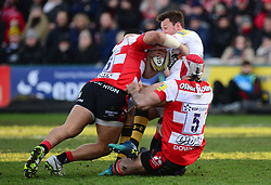 Mariano Galarza of Gloucester Rugby and Jake Polledri of Gloucester Rugby tackle Danny Cipriani of Wasps - Mandatory by-line: Alex James/JMP - 24/02/2018 - RUGBY - Kingsholm - Gloucester, England - Gloucester Rugby v Wasps - Aviva Premiership