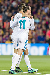 May 6, 2018 - Barcelona, Catalonia, Spain - Real Madrid forward Cristiano Ronaldo (7) celebrates scoring the goal with Real Madrid forward Gareth Bale (11) during the match between FC Barcelona v Real Madrid, for the round 36 of the Liga Santander, played at Camp nou  on 6th May 2018 in Barcelona, Spain. (Credit Image: © Urbanandsport/NurPhoto via ZUMA Press)