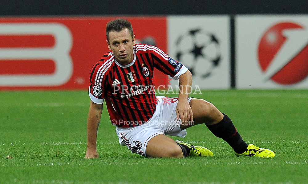28.09.2011, Stadion Giuseppe Meazza, Mailand, ITA, UEFA CL, Gruppe H, ITA, UEFA CL, AC Mailand (ITA) vs FC Viktoria Pilsen (CZE), im Bild Antonio CASSANO Milan. // during the UEFA Champions League game, group H, AC Mailand (ITA) vs FC Viktoria Pilsen (CZE) at Giuseppe Meazza stadium in Mailand, Italy on 2011/09/28. EXPA Pictures © 2011, PhotoCredit: EXPA/ InsideFoto/ Alessandro Sabattini +++++ ATTENTION - FOR AUSTRIA/(AUT), SLOVENIA/(SLO), SERBIA/(SRB), CROATIA/(CRO), SWISS/(SUI) and SWEDEN/(SWE) CLIENT ONLY +++++
