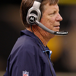 August 27, 2010; New Orleans, LA, USA; San Diego Chargers head coach Norv Turner watches his team against the New Orleans Saints during the second quarter of a preseason game at the Louisiana Superdome. Mandatory Credit: Derick E. Hingle