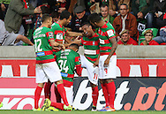 Maritimo´s player Eber Bessa(C)  celebrate after scoring a goal during the Portuguese First League football match Maritimo vs Sporting held at Barreiros Stadium, Funchal, Portugal, 21 January, 2017.  EPA / GREGÓRIO CUNHA