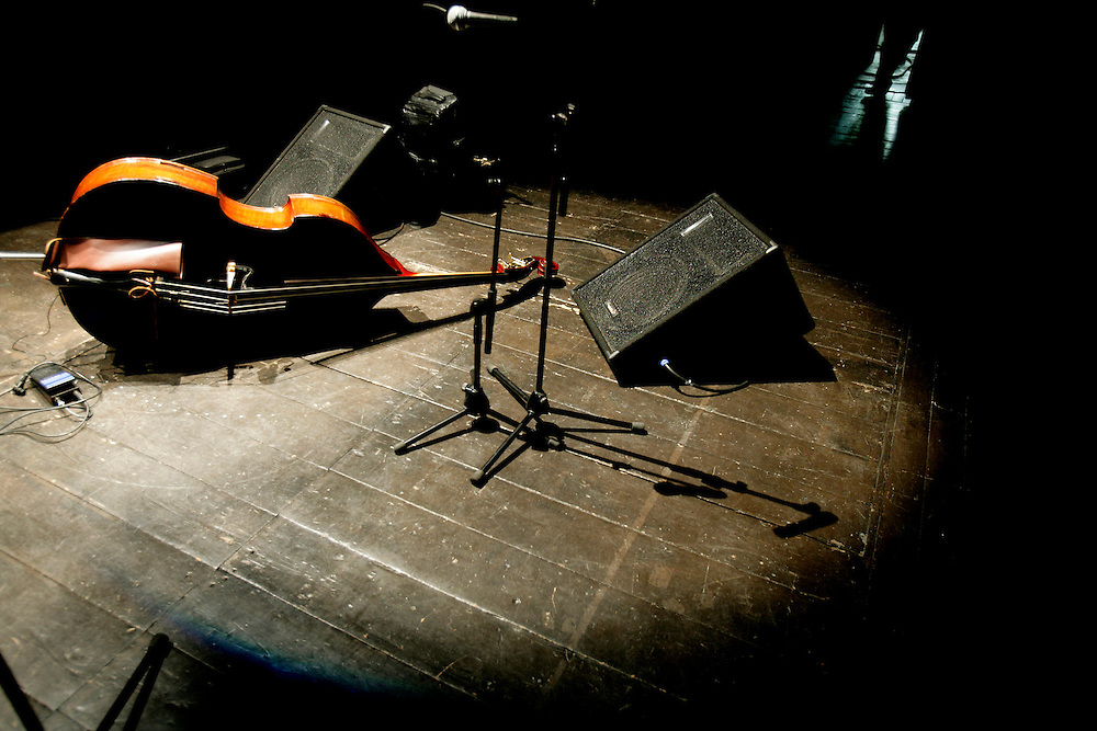 "Ken Filiano's bass lying on the stage floor. ""Jazz ao Centro"" jazz festival is held twice a year in portuguese town of Coimbra."