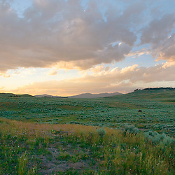 Sun setting over Hayden Valley in Yellowstone National Park.