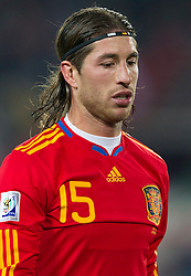 Sergio Ramos of Spain during the 2010 FIFA World Cup South Africa Group H Second Round match between Spain and Honduras on June 21, 2010 at Ellis Park Stadium, Johannesburg, South Africa.  Spain defeated Honduras 2-0. (Photo by Vid Ponikvar / Sportida)