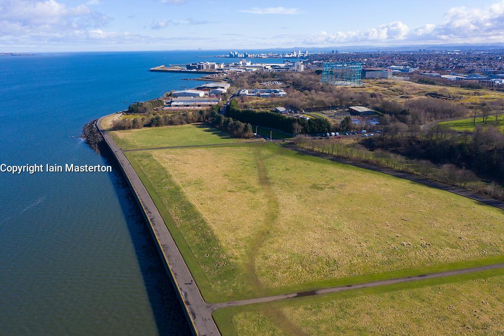 Aerial view of Gypsy Brae recreation park on shore of River Forth in Granton, Edinburgh, Scotland, UK