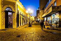 Rua Conselheiro Mafra e Mercado Público Municipal ao anoitecer. Florianópolis, Santa Catarina, Brasil. / Conselheiro Mafra Street and Municipal Public Market at dusk. Florianopolis, Santa Catarina, Brazil.