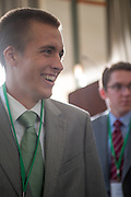 Chris Meister stands in line to speak with Detroit Redwings representatives at the Ohio University Sports Administration Career Fair in Walter Hall Rotunda. Photo by Elizabeth Held