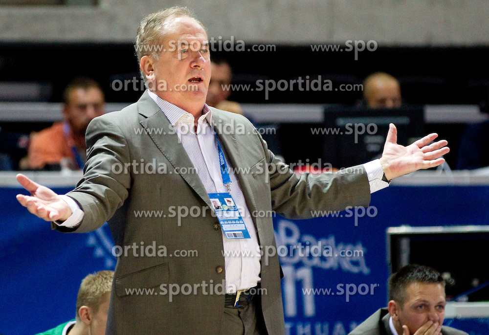 Bozidar Maljkovic, coach of Slovenia during basketball match between National teams of Ukraine and Slovenia in Group D of Preliminary Round of Eurobasket Lithuania 2011, on September 1, 2011, in Arena Svyturio, Klaipeda, Lithuania. Slovenia defeated Ukraine 68 - 64. (Photo by Vid Ponikvar / Sportida)