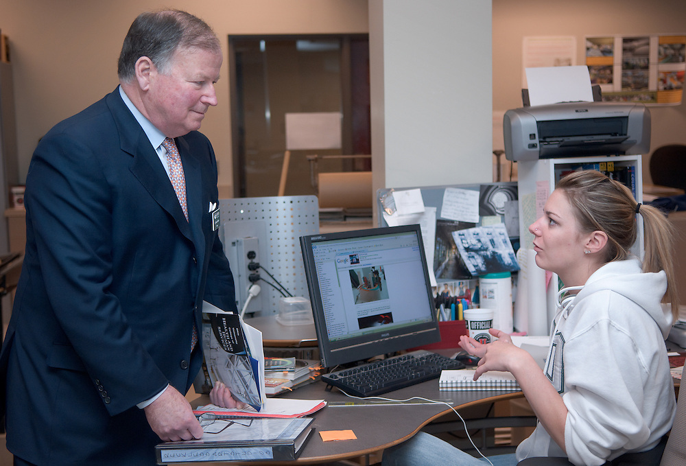 Board of trustees visiting The College of Health & Human Services...Robert Kidder talks to Bethany Carlson in Matthew Ziff's architecture class