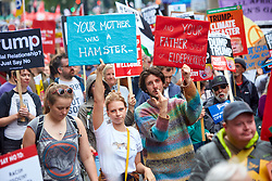 © Licensed to London News Pictures. 04/06/2019. LONDON, UK.  Protesters carrying Monty Python themed placards  in Whitehall during day 2 of the state visit of President Donald Trump to the UK.  Photo credit: Cliff Hide/LNP
