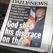 Daily News cover headlines about  President Trump latest tweets<br /> Daily News Headlines &quot; Trump says immigs 'infest' America&quot; &quot;Pulls U.S.out of UN human rights unit&quot; &quot;Steps up lies about child sepatations&quot; &quot; God shed his disgrace on thee&quot;.