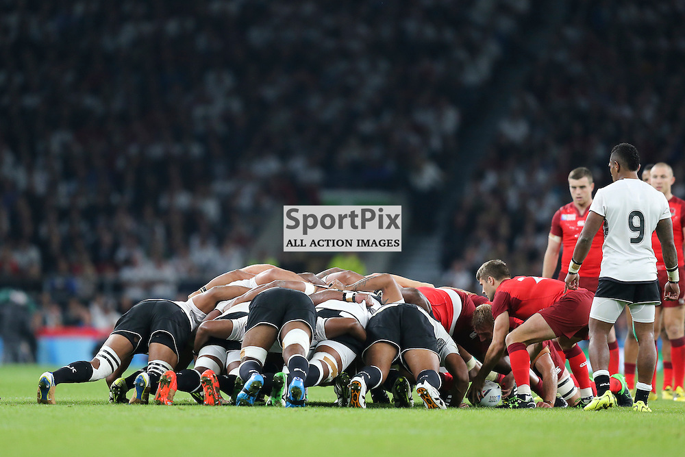 TWICKENHAM, ENGLAND - SEPTEMBER 18: Fiji scrum during the opening game of the Rugby World Cup between England and Fiji at Twickenham on September 18, 2015 in London, England. (Credit: SAM TODD | SportPix.org.uk)