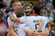 Antonin Rouzier from France with his team mates celebrate winning point during the 2013 CEV VELUX Volleyball European Championship match between Poland and France at Ergo Arena in Gdansk on September 21, 2013.<br /> <br /> Poland, Gdansk, September 21, 2013<br /> <br /> Picture also available in RAW (NEF) or TIFF format on special request.<br /> <br /> For editorial use only. Any commercial or promotional use requires permission.<br /> <br /> Mandatory credit:<br /> Photo by © Adam Nurkiewicz / Mediasport