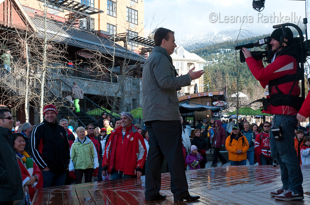 Michael Landsberg broadcasts live from CTV Mountain Square during the 2010 Olympic Winter Games in Whistler, BC Canada.