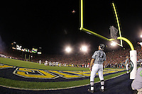 1 January 2005: The football sails through the goalpost from the foot of Dusty Mangum of Texas to beat Michigan 38-37 and win the Rose Bowl Game in Pasadena...