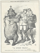The Russian Bear dancing to Germany's (Wilhelm I and his Chancellor, Bismarck) tune of  'O, Lovely Peace' by Handel played on the tin whistle by Bismarck. Cartoon by John Tenniel from 'Punch', London, 22 May 1875. Russian emperor visited Germany in May 1875.